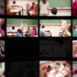 Stok video: Montage of pupils with teacher