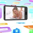 Montage of women using media devices on smartphone — Stock Video