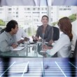 Touchscreen of business meeting — Stock Video