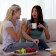 Attractive friends chatting over cups of coffee — Stock Video #25689583