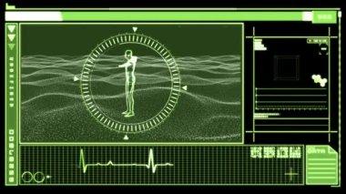 Apresentando interface digital revolvendo a figura do homem — Vídeo Stock