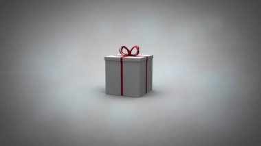 Gift illustration revealing video of woman getting present from partner — Stock Video