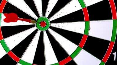 Dart landing a bulls eye — Stock Video