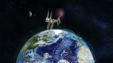 Montagem de satélites e terra globo — Vídeo Stock