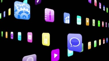 Interlocking application icons — Stock Video