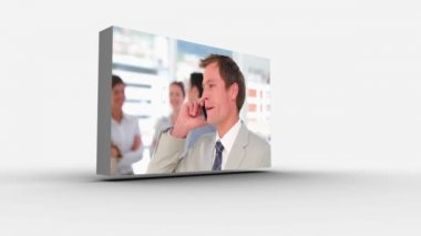 3d screens displaying business at work — Stock Video