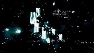 Ecuaciones matemáticas que aparecen en segundo plano galáctico y zoom — Vídeo de stock