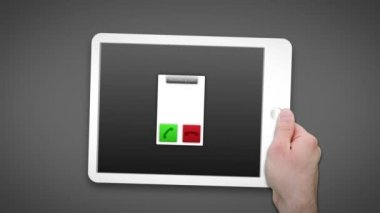 Hand using tablet pc to video chat — Stock Video