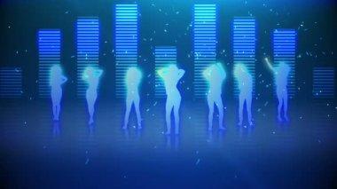 Silhouettes of women dancing and having fun — Stock Video
