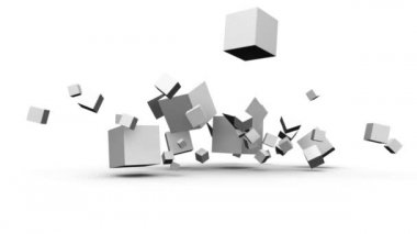 Cubes falling and dispersing to revel screens with business clips — Stock Video