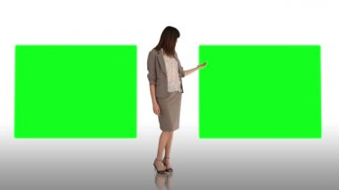 Smiling businesswoman making a presentation — Stock Video