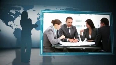 Animation of business at meeting — Stock Video