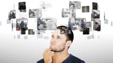 Brunette man hesitating between videos of cars — Stock Video