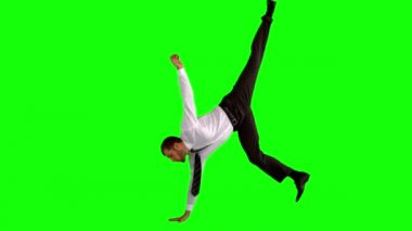 Businessman break dancing — Stock Video