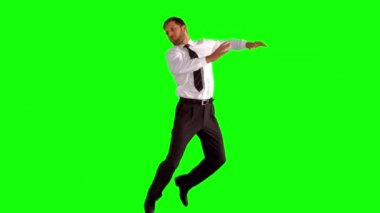 Businessman jumping up high — Stock Video