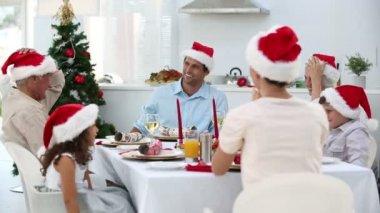 Family having christmas dinner — Stock Video