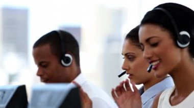 Group of agents in a call centre — Stock Video