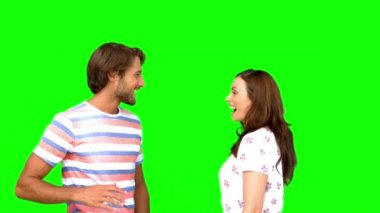 Friends giving high-five on green screen — Stock Video