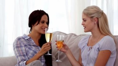 Attractive friends chatting with flutes of champagne — Stock Video