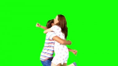 Couple meeting again on green screen — Stock Video