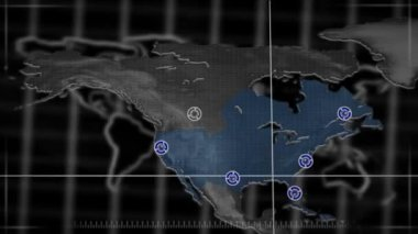Map moving and targeting part of the world — Vídeo de stock