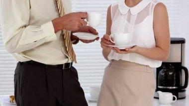 Business flirting during their break — Stock Video