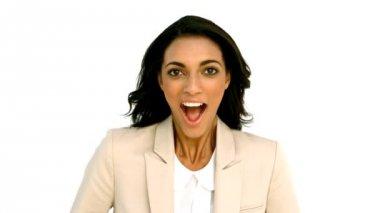 Mulher de negócios batendo palmas com emoção — Vídeo Stock