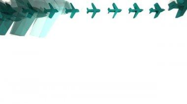 Avions bleues apparaissant dans l'animation d'une grille — Vidéo