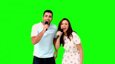 Friends dancing and singing on green screen — Stock Video