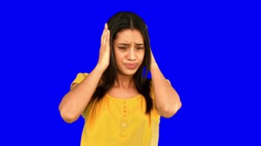 Upset woman shaking head in denial on blue screen — Stock Video