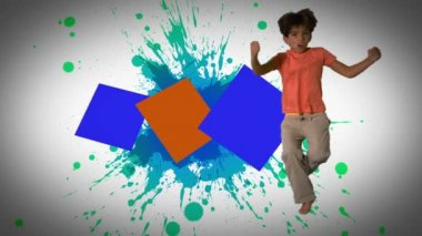 Montage of children jumping and playing in slow motion — Stock Video