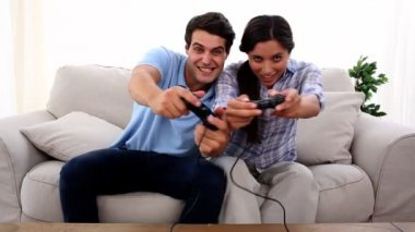 Couple playing at video game — Stock Video