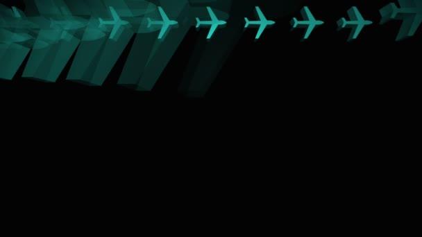 Avions bleues apparaissant dans une grille — Vidéo