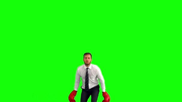 Empresario saltando con guantes de boxeo y golpear los puños juntos — Vídeo de stock