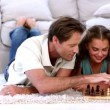 Parents and daughter playing chess — Stock Video