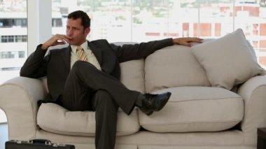 Businessman waiting before a job interview — Stock Video