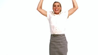 Excited businesswoman cheering and jumping — Stock Video
