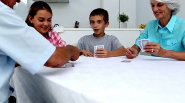 Grandparents playing cards with their grandchildren — Stok video