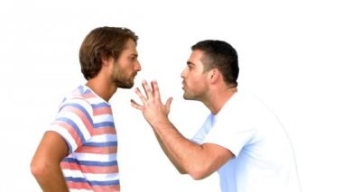Man about to fight another man on white background — Stockvideo