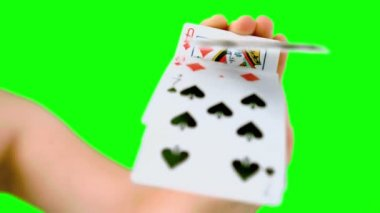 Hand shuffling and pushing cards towards camera — Stock Video
