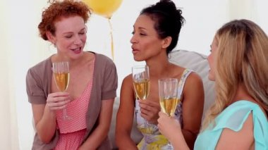 Friends toasting with champagne at a party — Stock Video