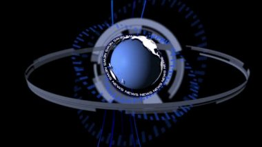 Animation of dial spinning around blue earth — Stock Video