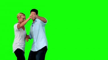 Lovers dancing together on green screen — Stock Video