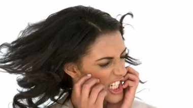 Stressed businesswoman shaking her head — Stock Video