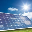 Solar panel reflecting light — Stock Photo