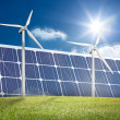 Stock Photo: Wind turbines and solar panels