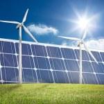 Wind turbines and solar panels — Stock Photo