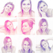 Collage of attractive blonde woman gesturing — Stock Photo