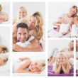 Collage of family in bed — Stock Photo