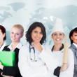 Women in different careers smiling together — Stock Photo